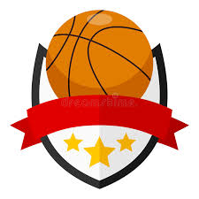 logo ribbon basketball flat logo with ribbon stock vector illustration