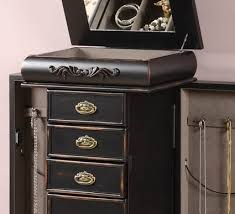 Wooden Jewelry Armoire Distressed Black Antique Style Jewelry Armoire