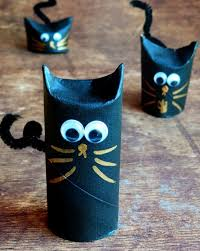 Halloween Craft Kids - halloween crafts for kids from reused toilet paper rolls as black