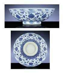 a fine and rare early ming blue and white fruit bowl xuande six