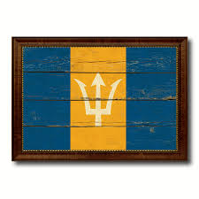 barbados country flag vintage canvas print with brown picture