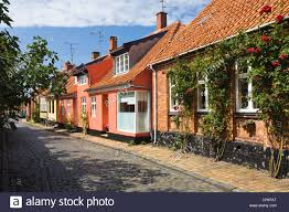 A Framed Houses by Timber Framed Houses In Rønne Bornholm Denmark Europe Stock