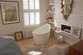 Small Bathroom Tub Ideas Wondrous Bathroom With Freestanding Tub Showcasing White Acrylic