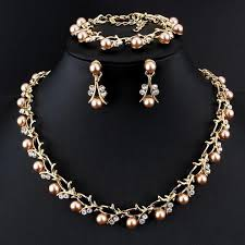 pearl necklace women images Classic imitation pearl necklace gold color jewelry set for women jpg