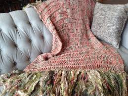 afghan decor blanket with fringe coral salmon yellow mustard