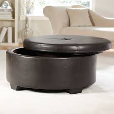 Brown Ottoman Storage Black Wooden Frame Ottoman Coffee Table With Gold Leather