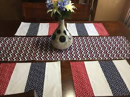 red white and blue 4th of july table runner patriotic table