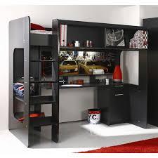 lit mezzanine noir avec bureau lit mezzanine une pièce supplémentaire cosy et intimiste lit