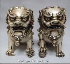 foo fu dog silver guardian lion foo fu dog statue pair ebay