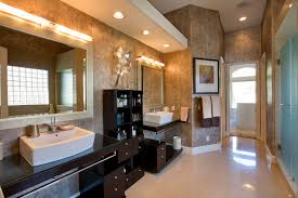 marvelous modern bathroom design with dark brown vanities cabinet
