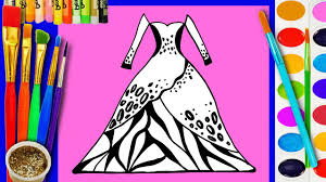 learn draw coloring barbie dress coloring book pages video