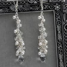 wedding earrings drop cluster earrings pearl bridal dangle earrings swarovski