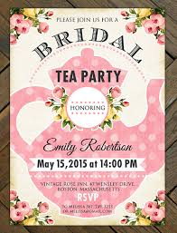 printable bridal shower tea party invitation bridal shower
