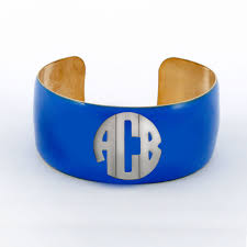 Monogram Bracelet Sterling Silver District17 Sterling Silver Enamel Cuff Block Monogram Bracelet