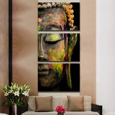 Paintings For Living Room by Aliexpress Com Buy 3 Panels Canvas Print Coloured Buddha