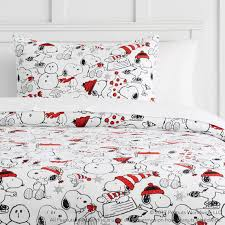 peanuts holiday flannel duvet cover sham pbteen