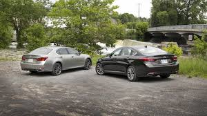 lexus gs 350 vs q70 comparison test 2015 hyundai genesis 3 8 vs 2015 lexus gs 350