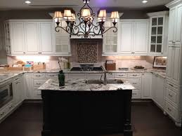 Chandelier Over Kitchen Island by Glamorous Vintage Feel Kitchen Design With Marble Countertop Over