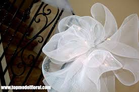 white deco mesh white mesh wedding bow with lights unique floral arrangements by