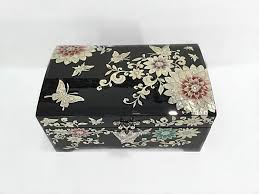 of pearl two level jewellery box with lotus flower and