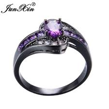 ring for purple oval ring fashion white black gold filled jewelry