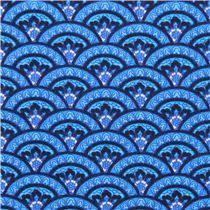 blue semi circle waves ornament fabric timeless treasures