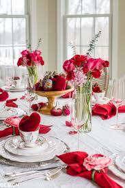 Valentines Day Table Decor Valentine Table Decorations Romantic Red And Pattern Mix