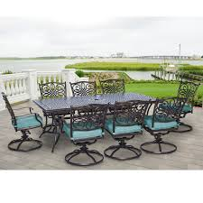 Patio Dining Set Swivel Chairs - traditions 9 piece dining set with eight swivel dining chairs and