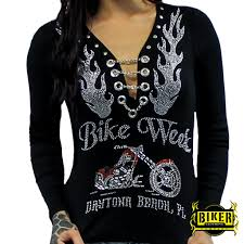 motorcycle apparel bike week orange and silver chopper long sleeve biker clothing