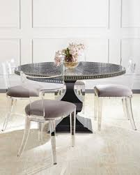 vivian black inlay dining table and nessy clear acrylic dining chair