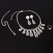 bridal jewelry wedding bridal jewelry waterdrop rhinestone necklace earrings
