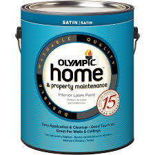 shop olympic home white satin latex interior paint actual net