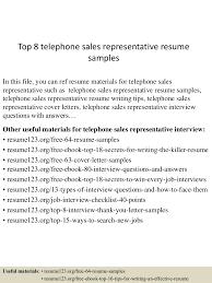 Resume For Sales Representative Jobs by Top8telephonesalesrepresentativeresumesamples 150528091559 Lva1 App6892 Thumbnail 4 Jpg Cb U003d1432804613