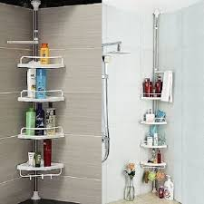 Telescopic Bathroom Shelves Shower Shelf Unit 4 Tier Adjustable Telescopic Bathroom Organiser