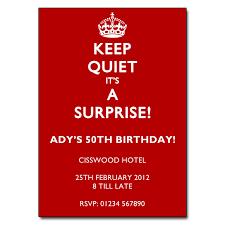 keep quiet it u0027s a surprise party invitations red u0026 white invite