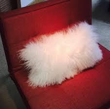 Mongolian Lamb Cushion Mongolian Fur Pillow Snow White Fur Pillow Genuine