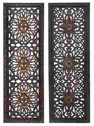 open carvings wood wall panels set of 2 traditional wall in wood