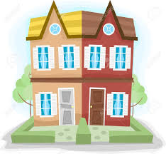 illustration of a duplex house with dissimilar colors stock photo