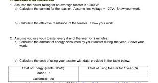 Cost Of Toaster 1 Assume The Power Rating For An Average Toaster Chegg Com