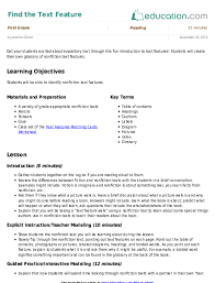 find the text feature lesson plan education com