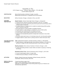 Educational Resumes Sample Resume For English Teacher Abroad Templates