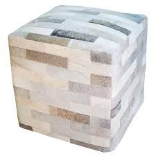 cowhide cube ottoman gray