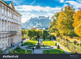 beautiful view famous mirabell gardens old stock photo 309226133