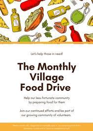 food drive poster template free orange food illustration volunteer flyer templates by canva