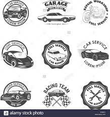 car service logo set of car repair service racing team labels and badges design