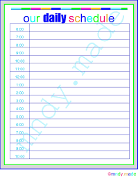stunning daily schedule template printable free images resume