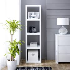 Tall Narrow Shelves by White High Gloss 4 Square Tall Narrow Bookcase