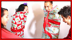 human wrapping paper challenge