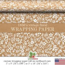 custom gift wrapping paper vintage floral kraft gift wrapping paper custom 1850 s floral