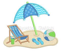 Beach Umbrella And Chair Beach Chair Umbrella Scene Applique Machine Embroidery Design